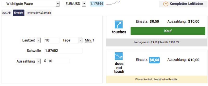 Touch-Optionen bei Binary.com
