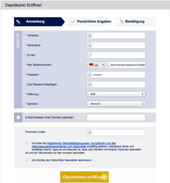 OptionWeb Registrierung